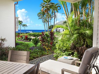 Photo for Poipu Kapili #35 Great Ocean Views with AC & walk to Shops & Dining!