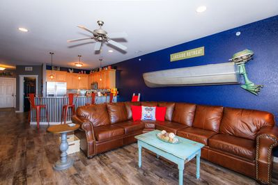 Check out that boat.  The family room has cozy seating for all of your guests.