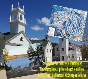 Historic town center... private lake frontage and only 18 miles from Mt Sunapee.