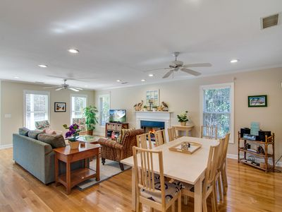 Photo for Palmetto-lined home w/ porches, yard & hammock - walk to beach/town!