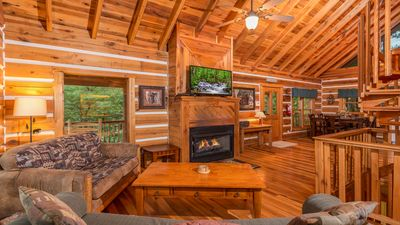 Photo for Luxury Cabin With Incredible View, Nestled In Woods but Convenient To Everything