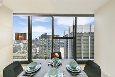The dining area with a view of the city.