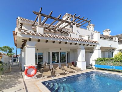 Photo for Beautiful 2 bed villa with stunning golf views, private pool, TV, WiFi, and A/C