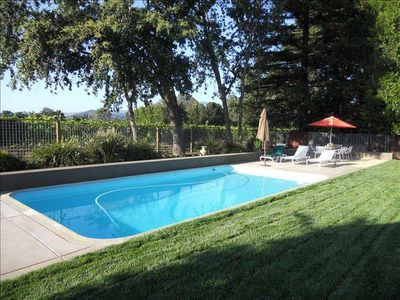pool next to vineyard with mountain views, fenced for privacy & safety