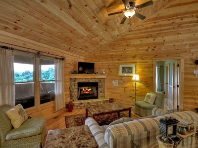 Photo for Family friendly private cabin with outdoor wood burning fireplace!