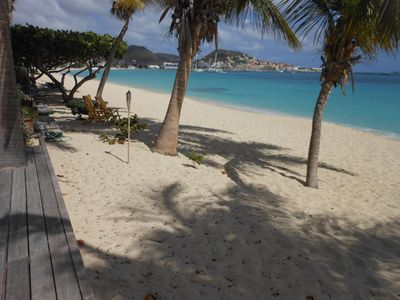 COCO BEACH CLUB #5....  step out the door on to the soft white powdery sand of Simpson Bay beach!