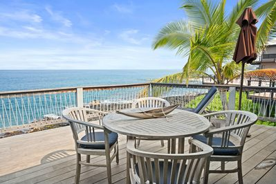 Patio table overlooking ocean