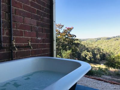 Photo for ODE TO THE ORCHARD - 16 acres, wood fire, outdoor bath, stunning views