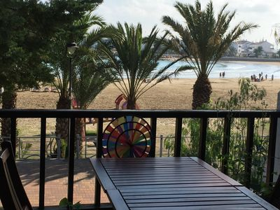 Photo for House facing the sea, front line beach, very bright, private garden and pool