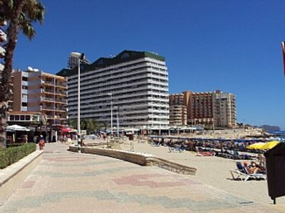 Photo for Calpe Beach Front Apartment   Air Con -  Wi-Fi - Sleeps 4/5 Car not Essential -