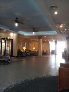 Lobby with luggage carts available.