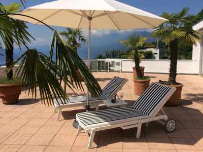 Photo for Attic apartment in fantastic panoramic position, large terrace and indoor pool