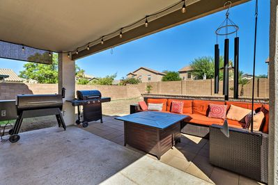 This home has an updated backyard living area.