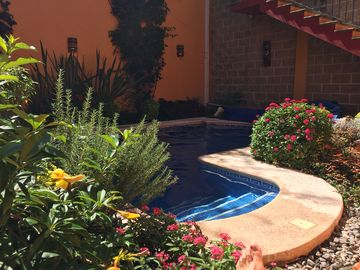 Colourful and comfy 2 bedroom house with pool