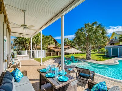 Photo for Family Retreat w/ Private Heated Pool, Game Room & Balcony - Steps to Beach!