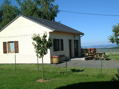 Photo for Chalet NEW, green environment, nature, quiet, in Auvergne, Sancy Massif view