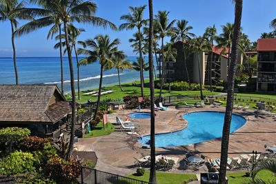 Actual lanai views of Molokai, pool area and up the coast.