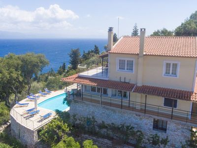 Photo for Villa Nefeli: Large Private Pool, Walk to Beach, Sea Views, A/C, WiFi, Car Not Required