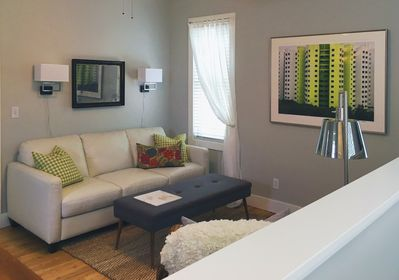 Upscale furnishings bring an urban sophistication to this cozy space.