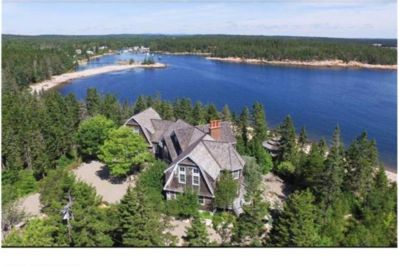 This is our Schoodic Peninsula Retreat, with Bunker's harbor in the background.