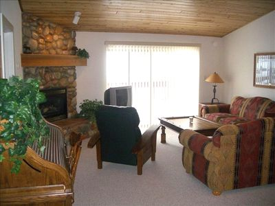 Living Room, gas fireplace, hot tub out sliding glass door