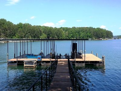 """Photo for Lake House Near Clemson, Priv. Dock, WiFi, 60"""" TV, Grill, Pedal Boat, Deep Water"""