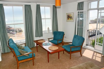 Front room with views to the bay and the Jetty