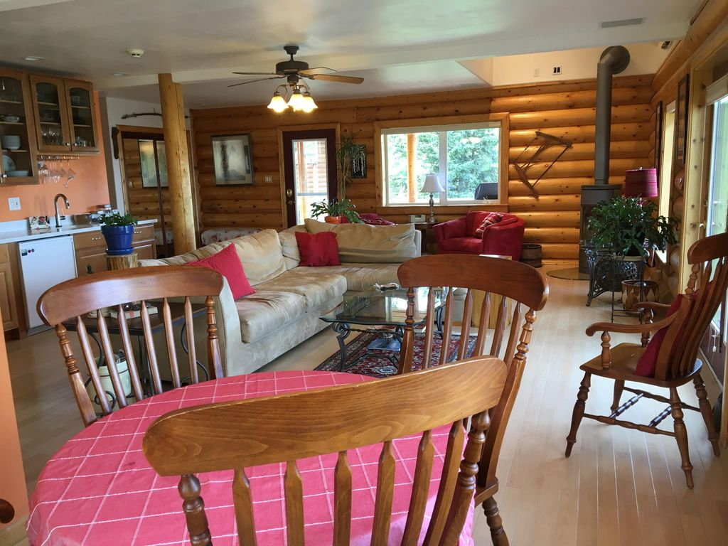 Beautiful log home on two acres, gardens, Mts and inlet views and ...