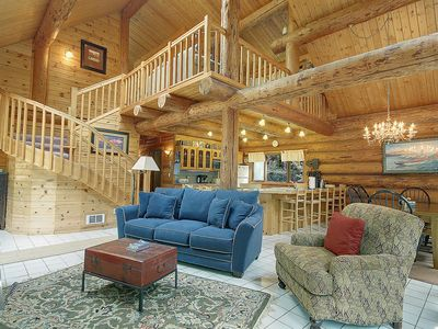 Photo for Private 3 Bedroom Log Home On 5 Acres - (Elena Log Home)