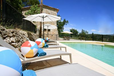 Lounge by the pool! Heatable and 12m long with plenty of toys for little one