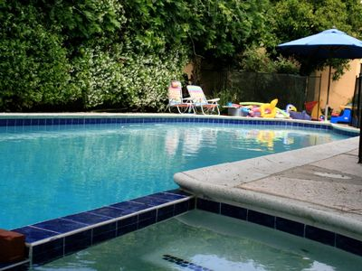 Heated pool and attached spa - child-proof fence just outside of picture