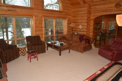 """Main Floor Great room, 47"""" HD TV, couch and lazy boy with wifi - Lake side view"""