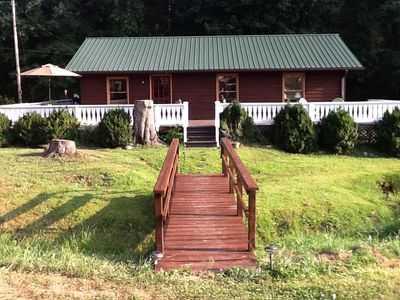 Front of House, Bridge over the Creek, Large Wrap Around Porch