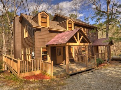 Photo for Peaceful 4bed2bath cabin that sits on a mountain stream w/pool & ping pong table
