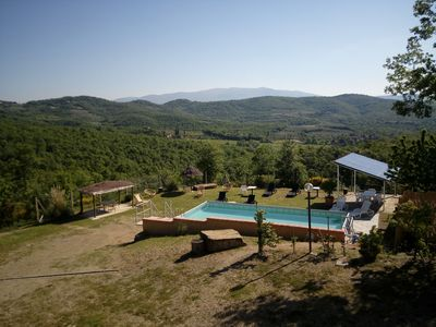 Photo for Private Villa with A/C, WIFI, private pool, TV, patio, panoramic view, parking, close to Arezzo