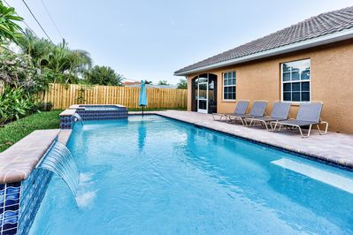 Private Pool and Hot Tub (Pool Heat Optional Add On at Time of Booking); Ample Lounging and Seating; Private Grill; Privacy Fence; Southern Exposure!