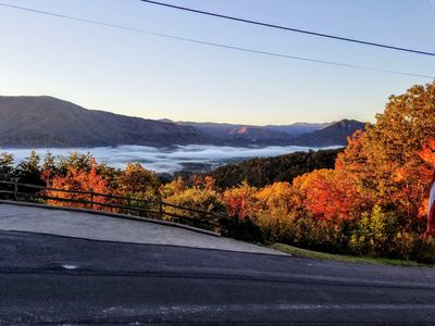 Glorious fall colors frame the morning mist over the valley--a common sight.