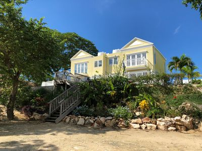 Little Bay Townhouse from the beach.  Our home is on the right hand side.