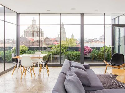 Photo for Near the Zocalo, cozy, modern and with an amazing roof garden (P13)