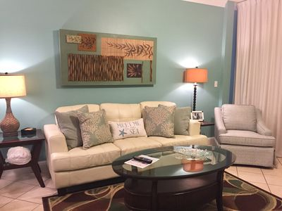 Living Room with Queen Sleeper Sofa.  Opens to Gulf Front Balcony