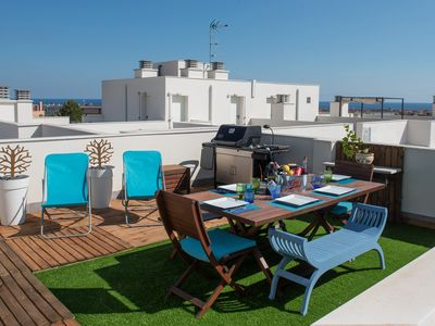Photo for NEW BUILT APARTMENT WITH LARGE ROOF TERRACE WITH OVERVIEW OF THE MEDITERANANEAN.