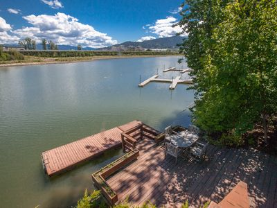 Photo for Upstairs, waterfront getaway w/ a dock, gas fireplace, & outside dining area