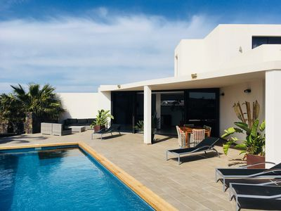 Photo for Luxury villa - heated pool and great views close to the center of Lajares