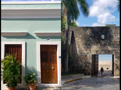 The house front, with historic door into Old San Juan located around the corner.