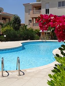 Photo for Luxury apartment, UK TV, free WIFI near beach and restaurants, pool view