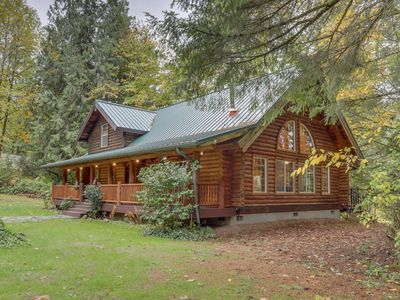 Photo for Riverfront log home on the Sandy River