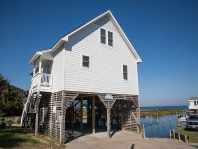 Photo for Enjoy this beautiful rental cottage nested on the sound in Buxton, a beautiful view of the Pamlico Sound is just relaxing!