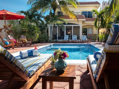 Photo for Spacious Hacienda style home with huge garden, screened porch and pool