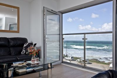 Views across Fistral Beach from the Juliet balcony