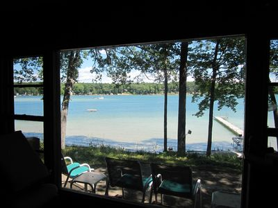 View from inside the cottage.  The lake is rarely busy.
